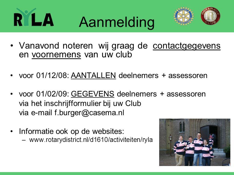 Aanmelding Vanavond noteren wij graag de contactgegevens en voornemens van uw club voor 01/12/08: AANTALLEN deelnemers + assessoren voor 01/02/09: GEG