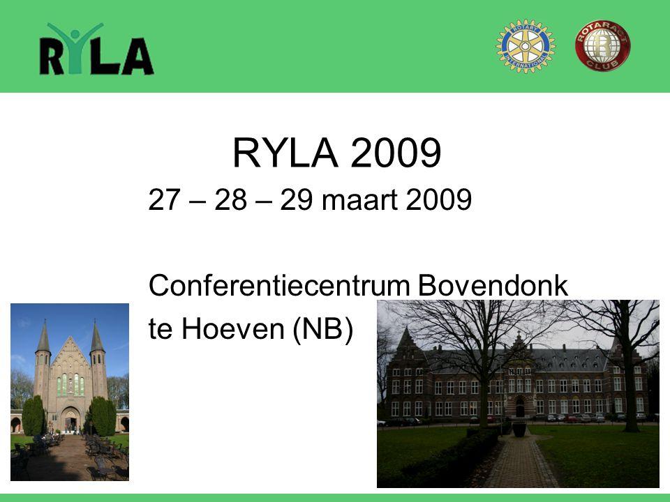 RYLA 2009 27 – 28 – 29 maart 2009 Conferentiecentrum Bovendonk te Hoeven (NB)