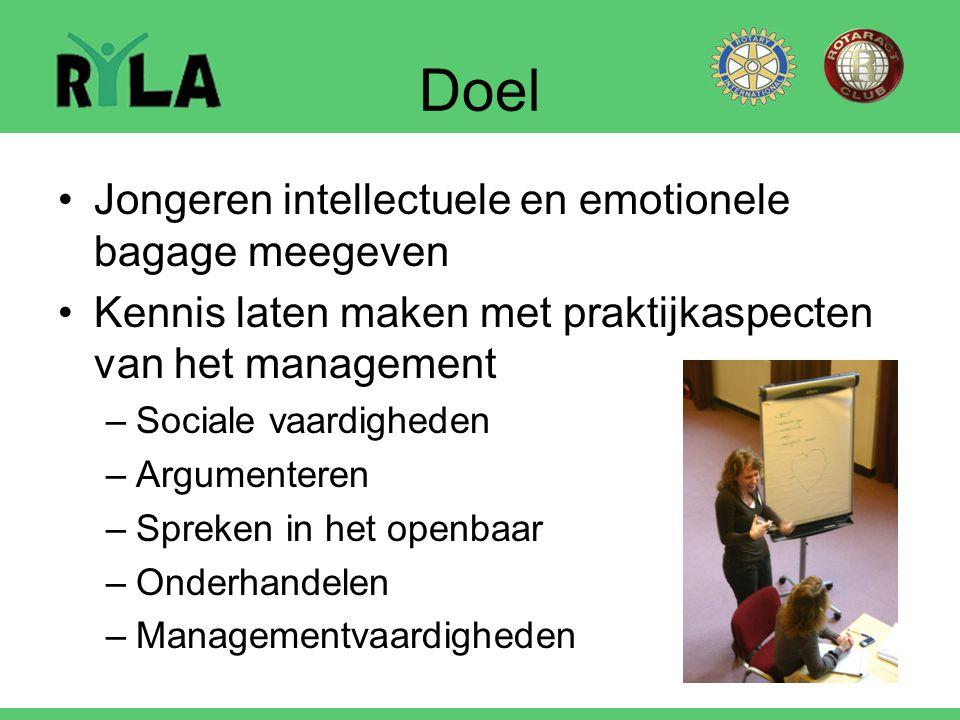 Doel Jongeren intellectuele en emotionele bagage meegeven Kennis laten maken met praktijkaspecten van het management –Sociale vaardigheden –Argumenter