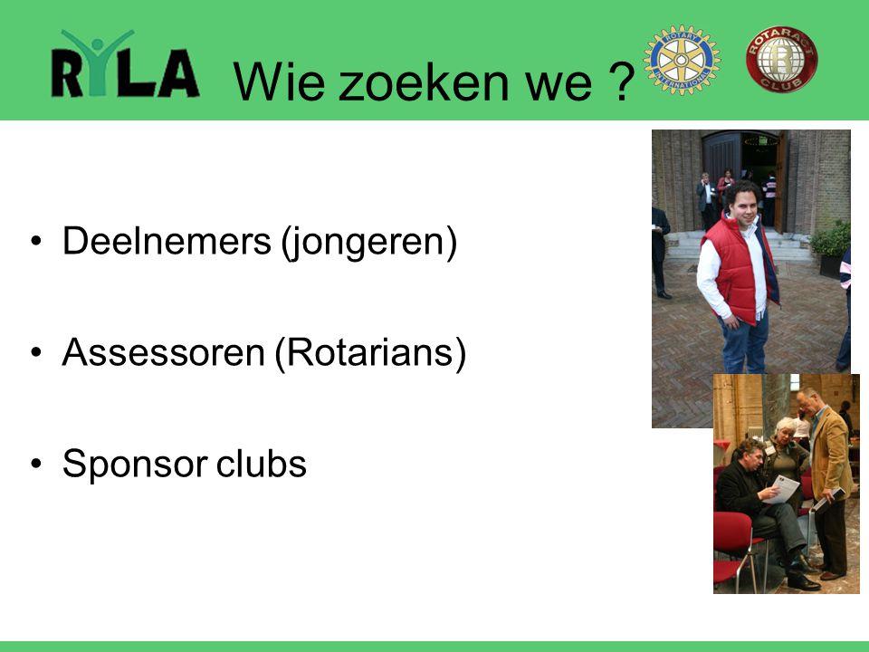 Wie zoeken we ? Deelnemers (jongeren) Assessoren (Rotarians) Sponsor clubs