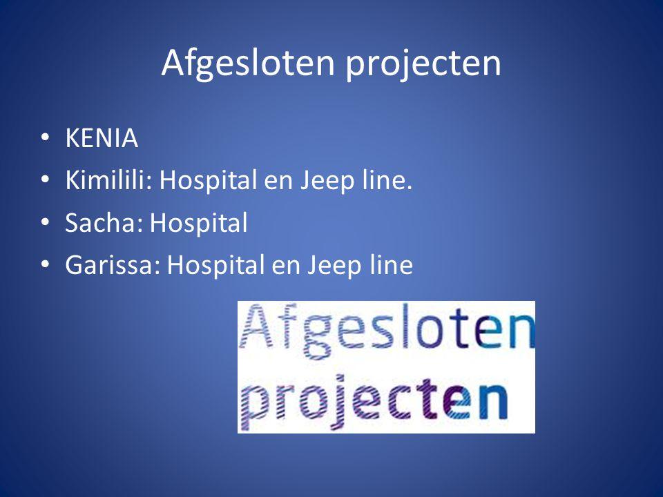 Afgesloten projecten KENIA Kimilili: Hospital en Jeep line.