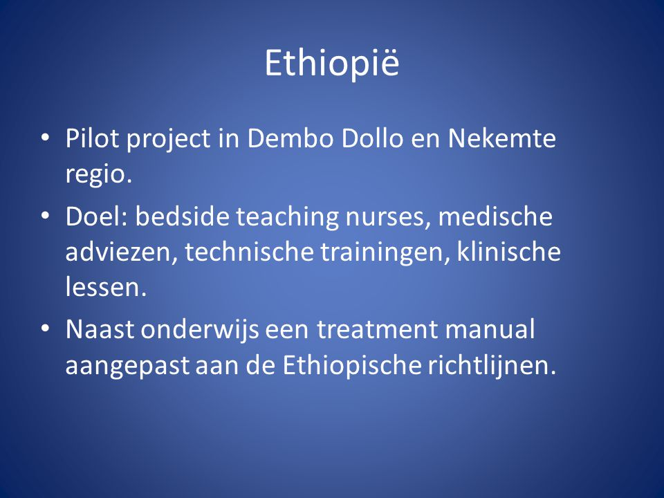 Ethiopië Pilot project in Dembo Dollo en Nekemte regio.