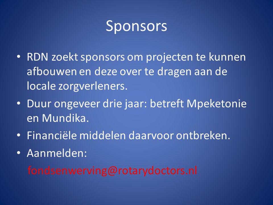 Sponsors RDN zoekt sponsors om projecten te kunnen afbouwen en deze over te dragen aan de locale zorgverleners.