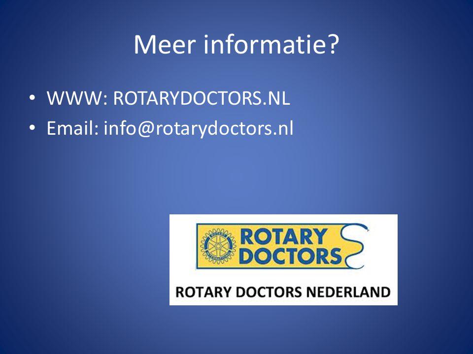 Meer informatie WWW: ROTARYDOCTORS.NL Email: info@rotarydoctors.nl