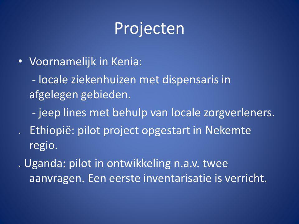 Projecten Voornamelijk in Kenia: - locale ziekenhuizen met dispensaris in afgelegen gebieden.