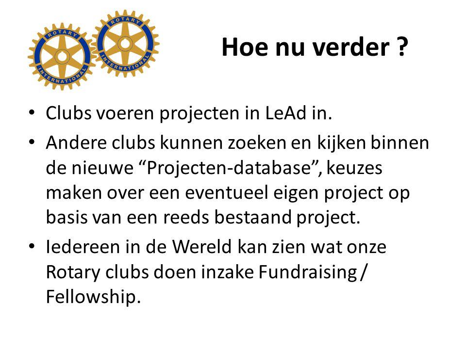 Hoe nu verder . Clubs voeren projecten in LeAd in.