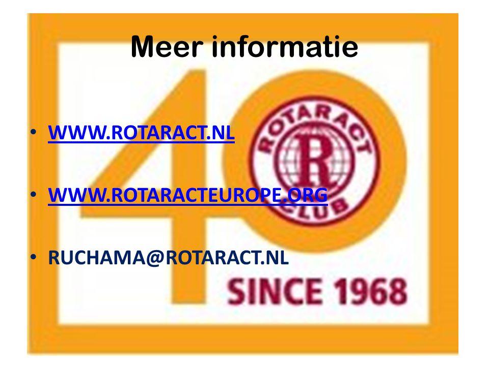 WWW.ROTARACT.NL WWW.ROTARACTEUROPE.ORG RUCHAMA@ROTARACT.NL Meer informatie