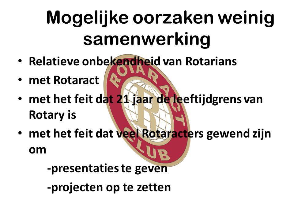 Mogelijke oorzaken weinig samenwerking Relatieve onbekendheid van Rotarians met Rotaract met het feit dat 21 jaar de leeftijdgrens van Rotary is met het feit dat veel Rotaracters gewend zijn om -presentaties te geven -projecten op te zetten