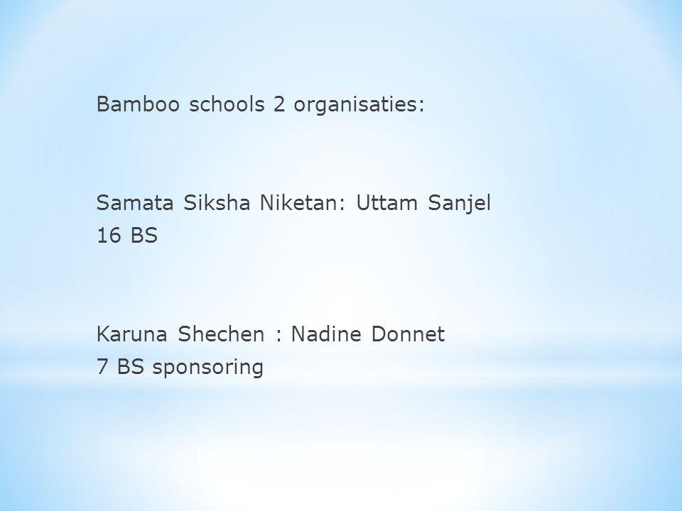 Bamboo schools 2 organisaties: Samata Siksha Niketan: Uttam Sanjel 16 BS Karuna Shechen : Nadine Donnet 7 BS sponsoring
