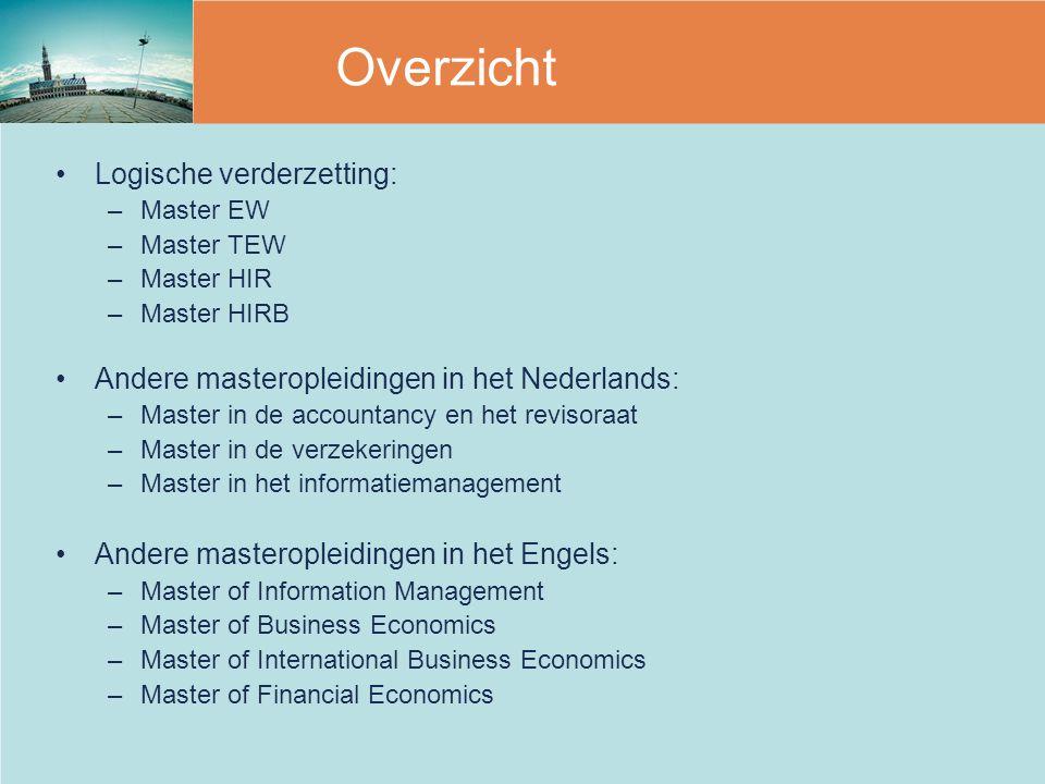Overzicht Logische verderzetting: –Master EW –Master TEW –Master HIR –Master HIRB Andere masteropleidingen in het Nederlands: –Master in de accountanc