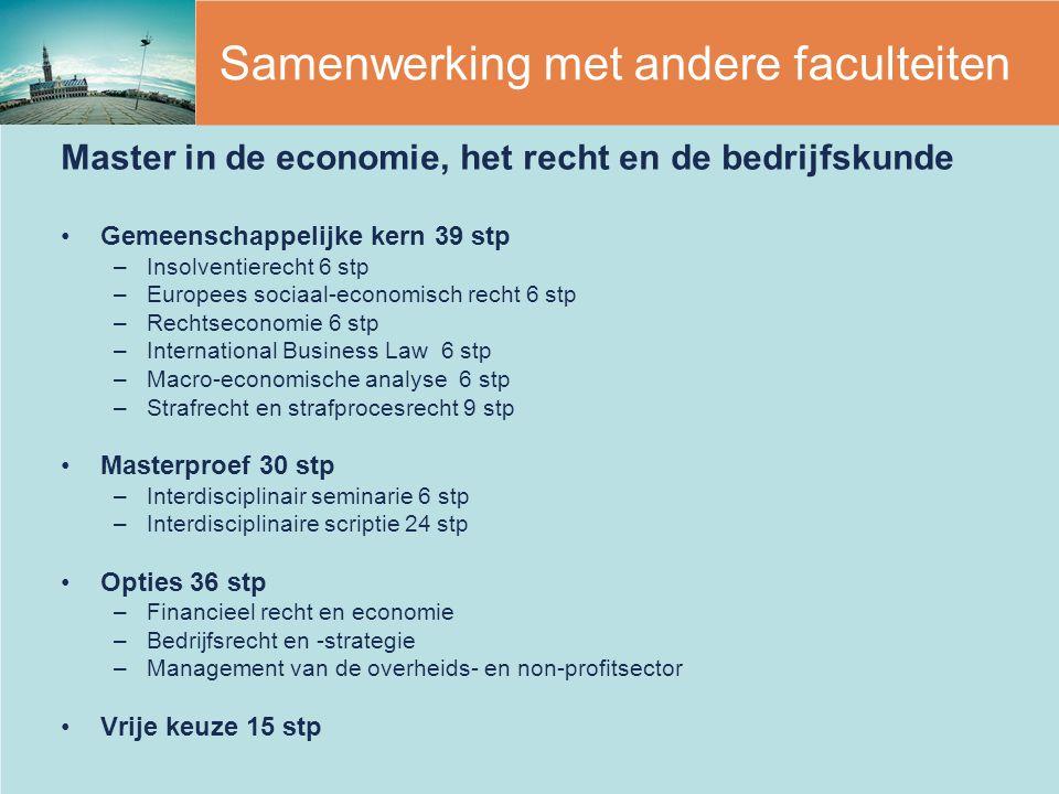 Samenwerking met andere faculteiten Master in de economie, het recht en de bedrijfskunde Gemeenschappelijke kern 39 stp –Insolventierecht 6 stp –Europ