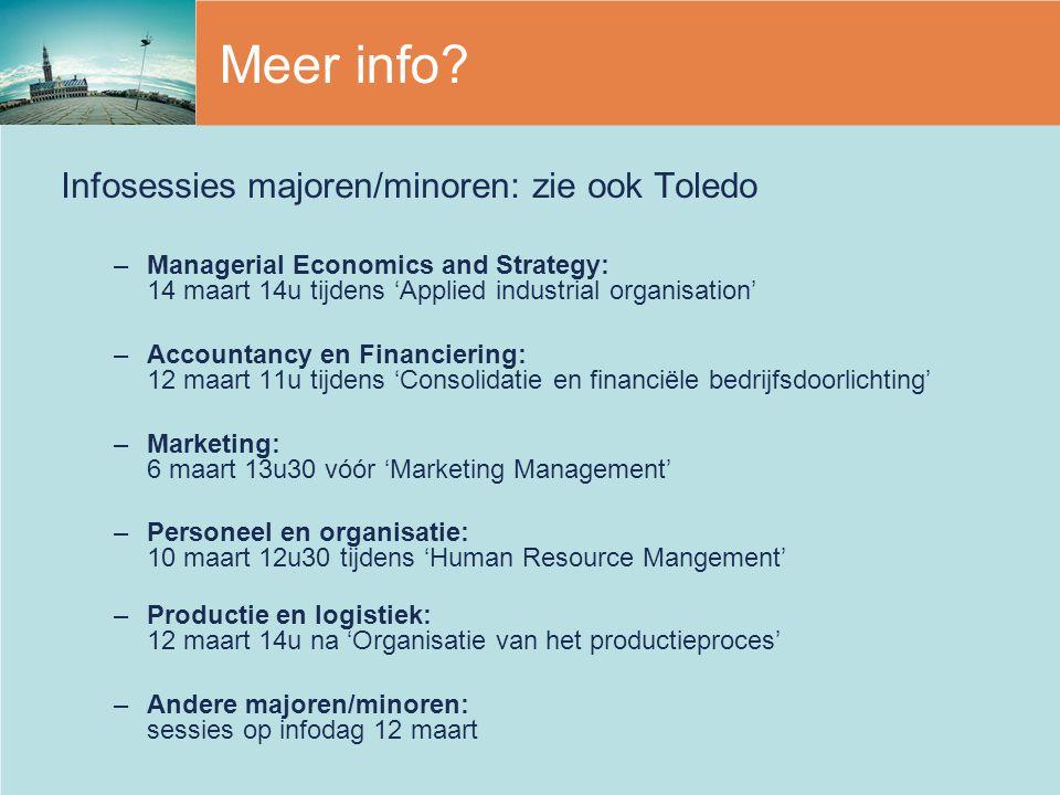 Meer info? Infosessies majoren/minoren: zie ook Toledo –Managerial Economics and Strategy: 14 maart 14u tijdens 'Applied industrial organisation' –Acc