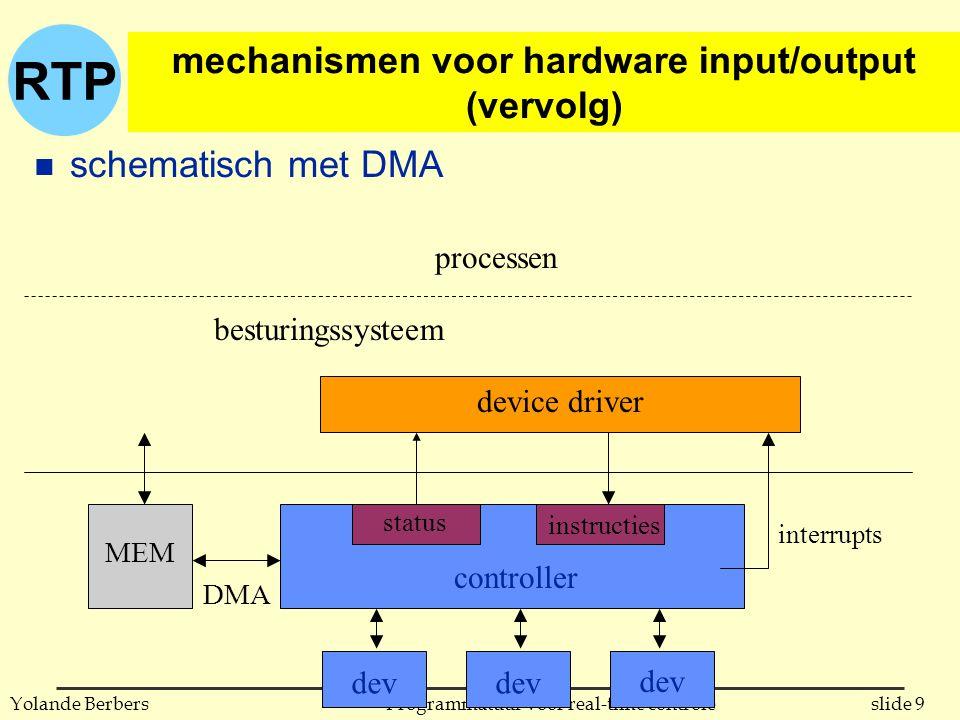 RTP slide 9Programmatuur voor real-time controleYolande Berbers mechanismen voor hardware input/output (vervolg) n schematisch met DMA besturingssysteem controller status instructies interrupts MEM DMA device driver dev processen