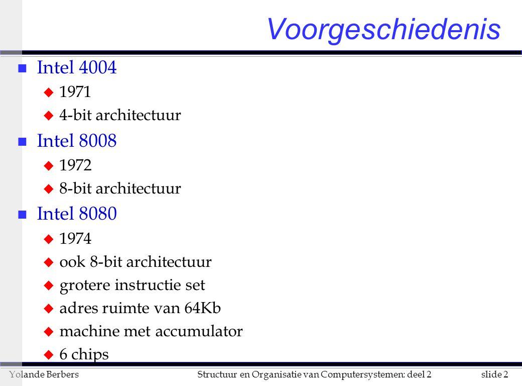 slide 2Structuur en Organisatie van Computersystemen: deel 2Yolande Berbers Voorgeschiedenis n Intel 4004 u 1971 u 4-bit architectuur n Intel 8008 u 1972 u 8-bit architectuur n Intel 8080 u 1974 u ook 8-bit architectuur u grotere instructie set u adres ruimte van 64Kb u machine met accumulator u 6 chips
