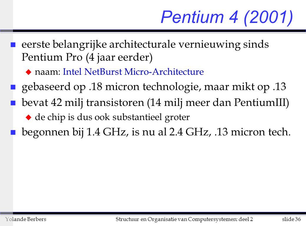 slide 36Structuur en Organisatie van Computersystemen: deel 2Yolande Berbers Pentium 4 (2001) n eerste belangrijke architecturale vernieuwing sinds Pentium Pro (4 jaar eerder) u naam: Intel NetBurst Micro-Architecture n gebaseerd op.18 micron technologie, maar mikt op.13 n bevat 42 milj transistoren (14 milj meer dan PentiumIII) u de chip is dus ook substantieel groter n begonnen bij 1.4 GHz, is nu al 2.4 GHz,.13 micron tech.