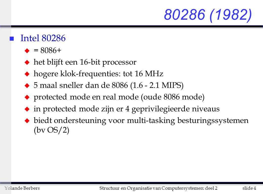 slide 4Structuur en Organisatie van Computersystemen: deel 2Yolande Berbers 80286 (1982) n Intel 80286 u = 8086+ u het blijft een 16-bit processor u hogere klok-frequenties: tot 16 MHz u 5 maal sneller dan de 8086 (1.6 - 2.1 MIPS) u protected mode en real mode (oude 8086 mode) u in protected mode zijn er 4 geprivilegieerde niveaus u biedt ondersteuning voor multi-tasking besturingssystemen (bv OS/2)