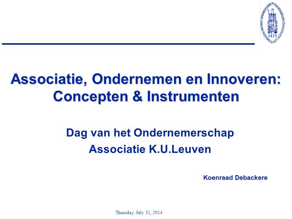 Thursday, July 31, 2014 Associatie, Ondernemen en Innoveren: Concepten & Instrumenten Dag van het Ondernemerschap Associatie K.U.Leuven Koenraad Debac