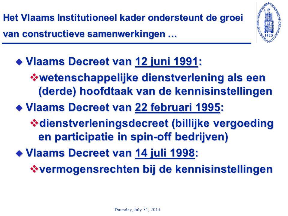 Thursday, July 31, 2014 Het Vlaams Institutioneel kader ondersteunt de groei van constructieve samenwerkingen …  Vlaams Decreet van 12 juni 1991:  w