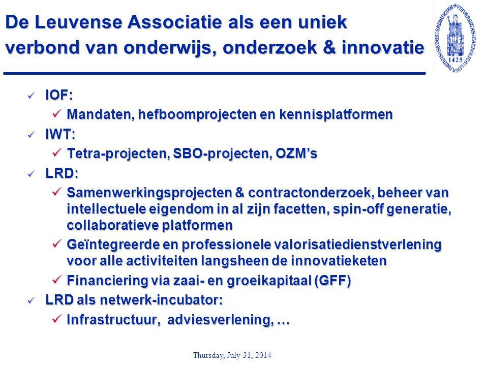 Thursday, July 31, 2014 De Leuvense Associatie als een uniek verbond van onderwijs, onderzoek & innovatie IOF: IOF: Mandaten, hefboomprojecten en kenn