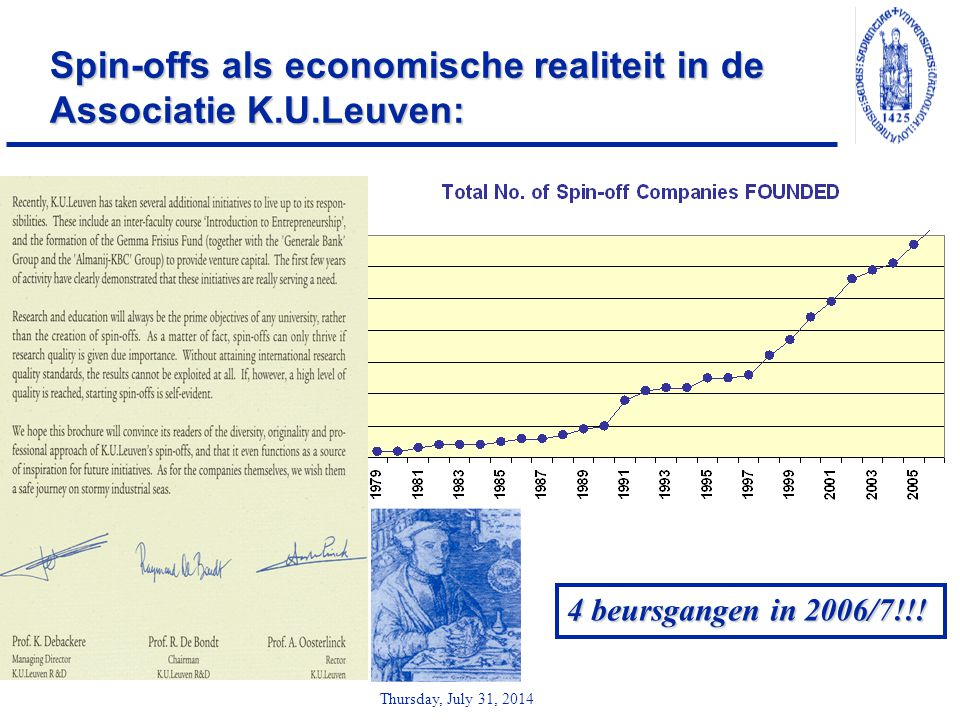 Thursday, July 31, 2014 Spin-offs als economische realiteit in de Associatie K.U.Leuven: 4 beursgangen in 2006/7!!!