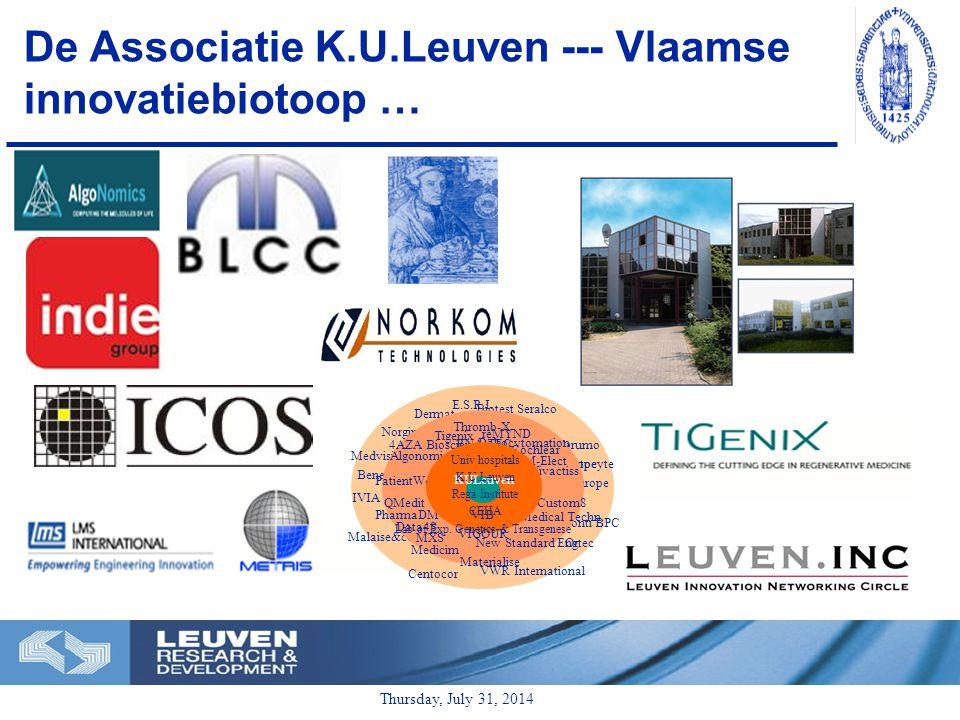 Thursday, July 31, 2014 De Associatie K.U.Leuven --- Vlaamse innovatiebiotoop … Biotest Seralco Benelux Terumo Europe Autocyte Europe Conti BPC Ortec