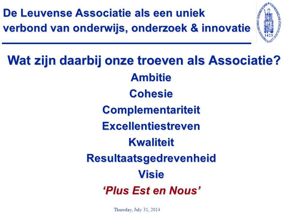 Thursday, July 31, 2014 De Leuvense Associatie als een uniek verbond van onderwijs, onderzoek & innovatie Wat zijn daarbij onze troeven als Associatie
