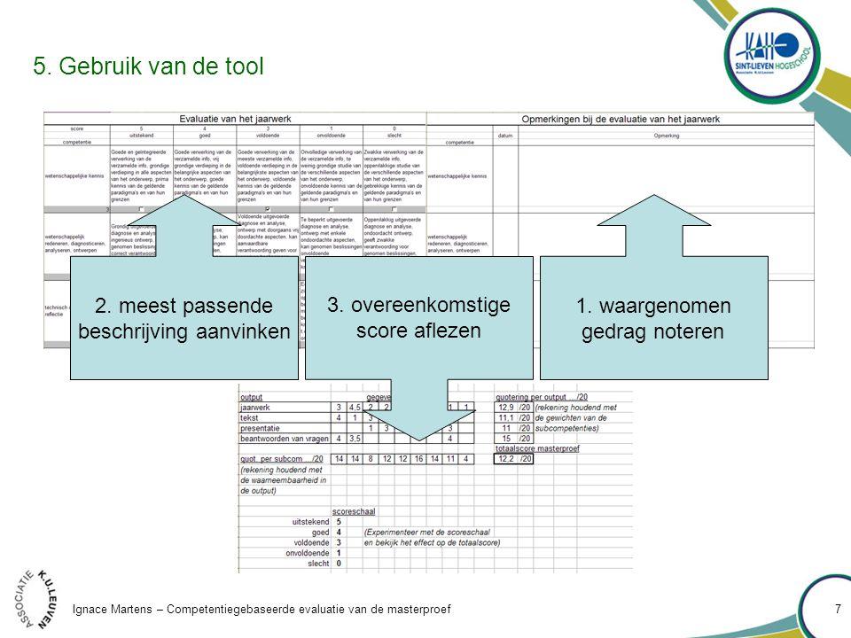 Ignace Martens – Competentiegebaseerde evaluatie van de masterproef 7 5.