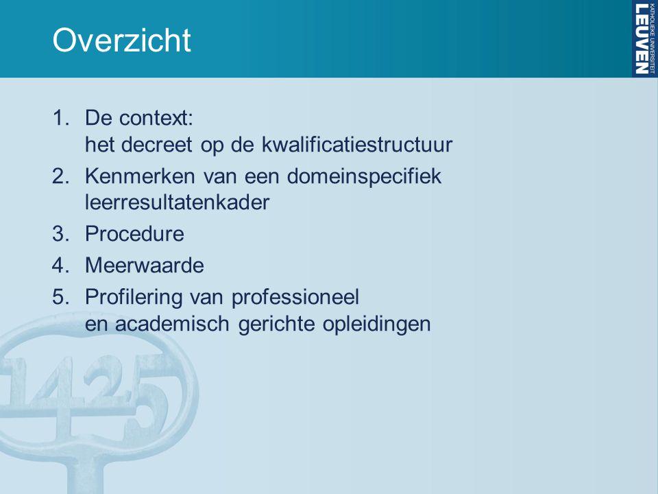Overzicht 1.De context: het decreet op de kwalificatiestructuur 2.Kenmerken van een domeinspecifiek leerresultatenkader 3.Procedure 4.Meerwaarde 5.Pro