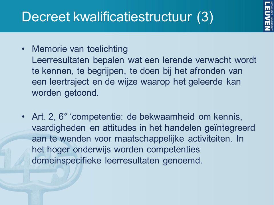 Decreet kwalificatiestructuur (3) Memorie van toelichting Leerresultaten bepalen wat een lerende verwacht wordt te kennen, te begrijpen, te doen bij h