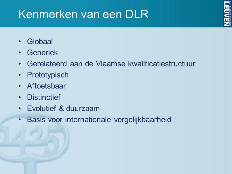 Kenmerken van een DLR Globaal Generiek Gerelateerd aan de Vlaamse kwalificatiestructuur Prototypisch Aftoetsbaar Distinctief Evolutief & duurzaam Basi