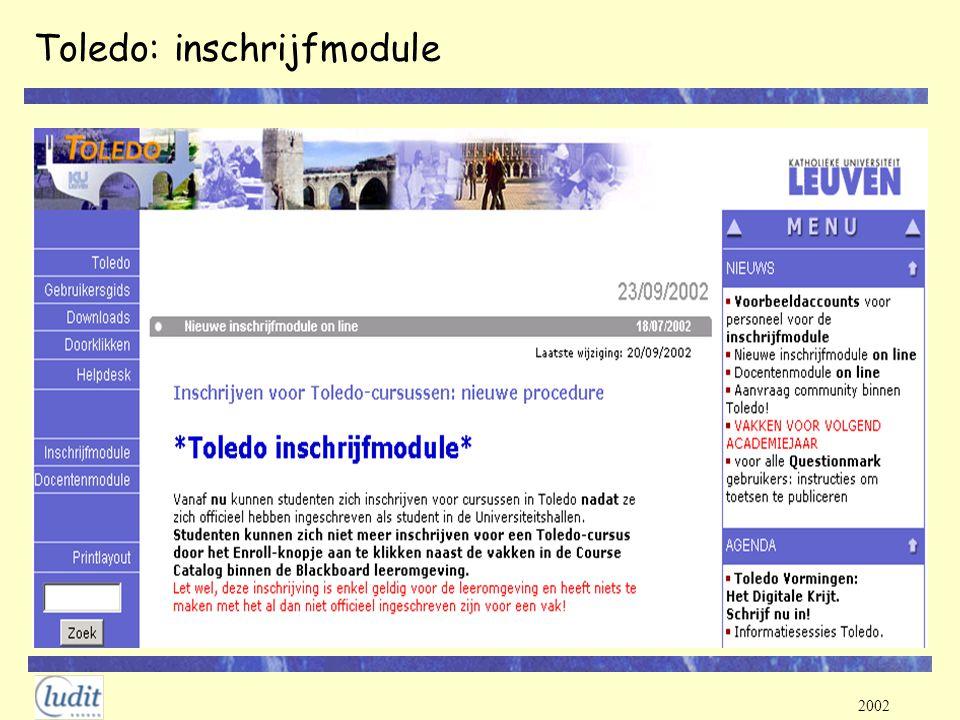2002 Toledo: inschrijfmodule