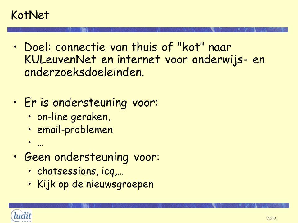 2002 KotNet Doel: connectie van thuis of