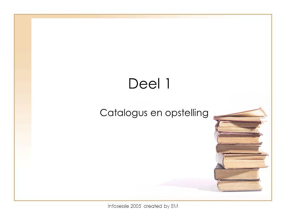 Infosessie 2005 created by EM Deel 1 Catalogus en opstelling