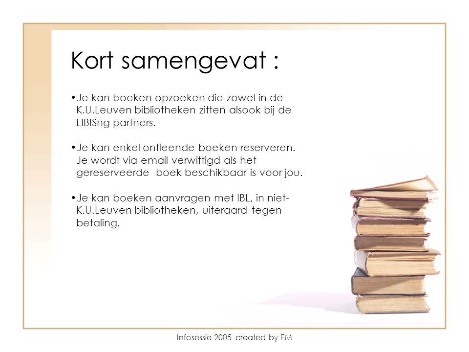 Kort samengevat : Je kan boeken opzoeken die zowel in de K.U.Leuven bibliotheken zitten alsook bij de LIBISng partners.