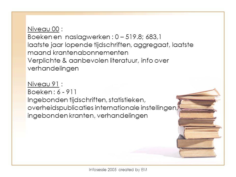 Infosessie 2005 created by EM Niveau 00 : Boeken en naslagwerken : 0 – 519.8; 683,1 laatste jaar lopende tijdschriften, aggregaat, laatste maand krantenabonnementen Verplichte & aanbevolen literatuur, info over verhandelingen Niveau 91 : Boeken : 6 - 911 Ingebonden tijdschriften, statistieken, overheidspublicaties internationale instellingen, ingebonden kranten, verhandelingen