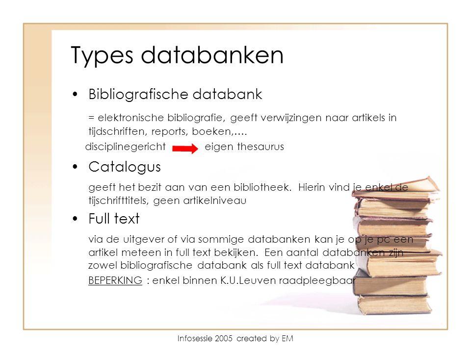 Infosessie 2005 created by EM Types databanken Bibliografische databank = elektronische bibliografie, geeft verwijzingen naar artikels in tijdschriften, reports, boeken,….