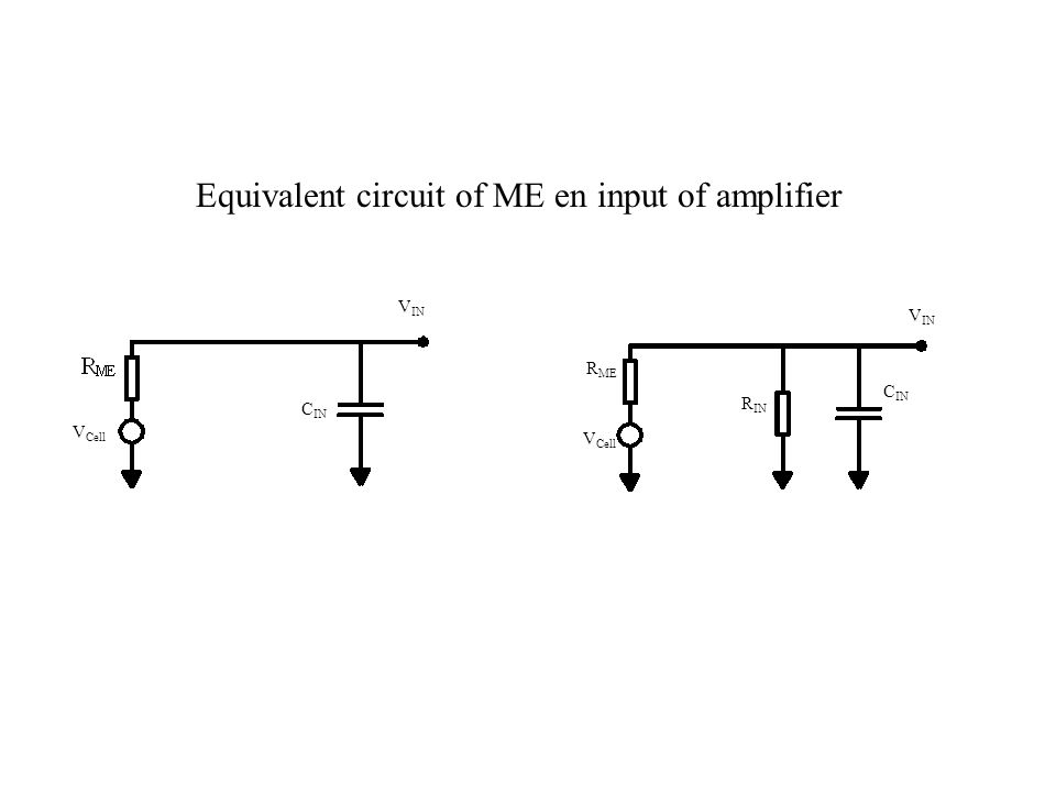 V Cell C IN V IN V Cell C IN R IN R ME Equivalent circuit of ME en input of amplifier