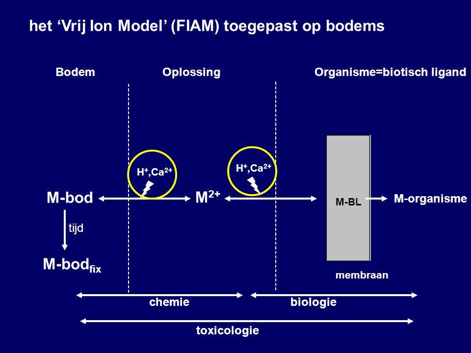 M 2+ M-organisme M-bod M-BL membraan BodemOplossingOrganisme=biotisch ligand chemiebiologie toxicologie H +,Ca 2+ M-bod fix tijd het 'Vrij Ion Model' (FIAM) toegepast op bodems H +,Ca 2+