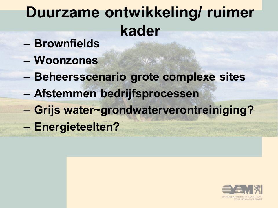 Duurzame ontwikkeling/ ruimer kader –Brownfields –Woonzones –Beheersscenario grote complexe sites –Afstemmen bedrijfsprocessen –Grijs water~grondwaterverontreiniging.