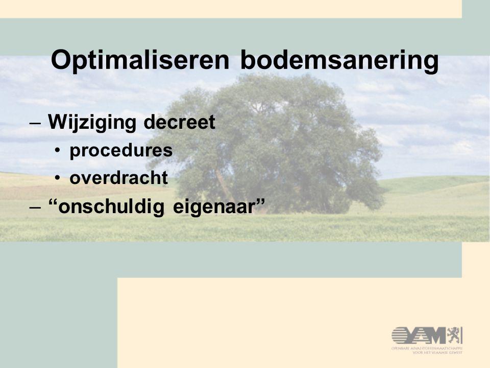 """Optimaliseren bodemsanering –Wijziging decreet procedures overdracht –""""onschuldig eigenaar"""""""