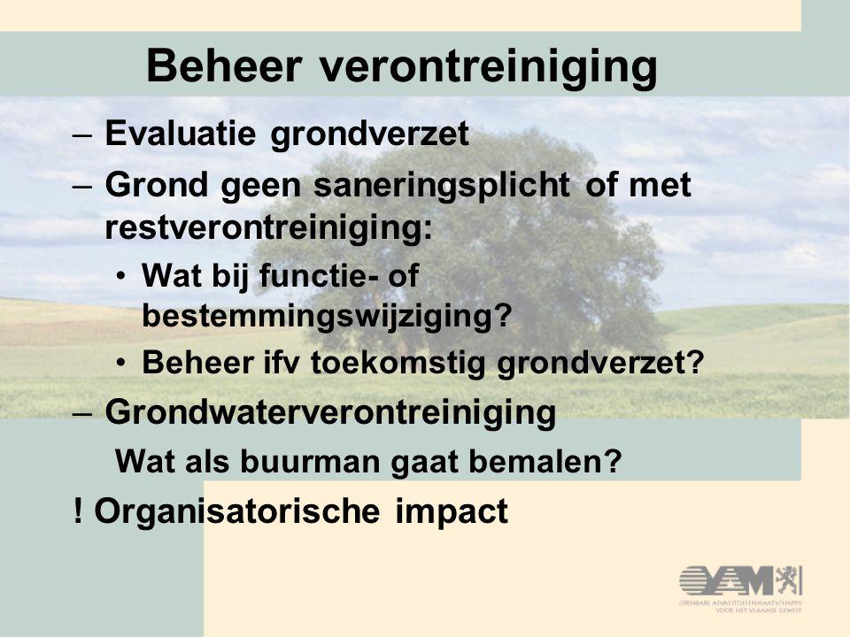 Beheer verontreiniging –Evaluatie grondverzet –Grond geen saneringsplicht of met restverontreiniging: Wat bij functie- of bestemmingswijziging? Beheer
