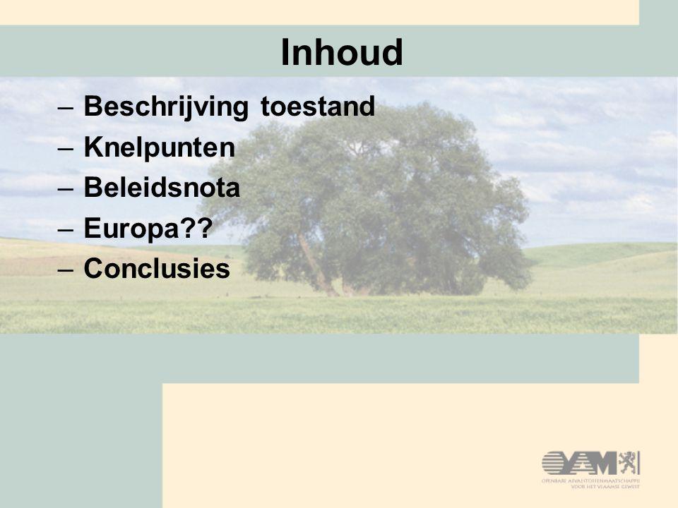 Inhoud –Beschrijving toestand –Knelpunten –Beleidsnota –Europa –Conclusies
