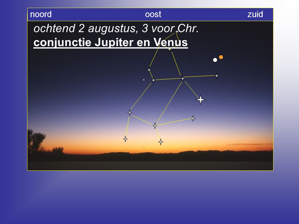 ochtend 2 augustus, 3 voor Chr. conjunctie Jupiter en Venus noord oost zuid