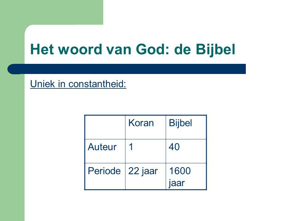 Het woord van God: de Bijbel Uniek in constantheid: KoranBijbel Auteur140 Periode22 jaar1600 jaar