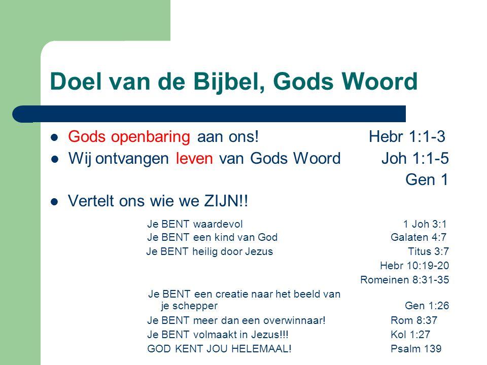 Doel van de Bijbel, Gods Woord Gods openbaring aan ons.