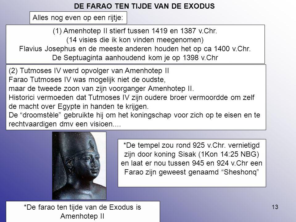 13 (2) Tutmoses IV werd opvolger van Amenhotep II Farao Tutmoses IV was mogelijk niet de oudste, maar de tweede zoon van zijn voorganger Amenhotep II.