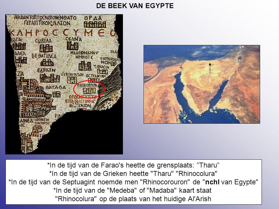 """17 DE BEEK VAN EGYPTE *In de tijd van de Farao's heette de grensplaats: """"Tharu"""" *In de tijd van de Grieken heette"""