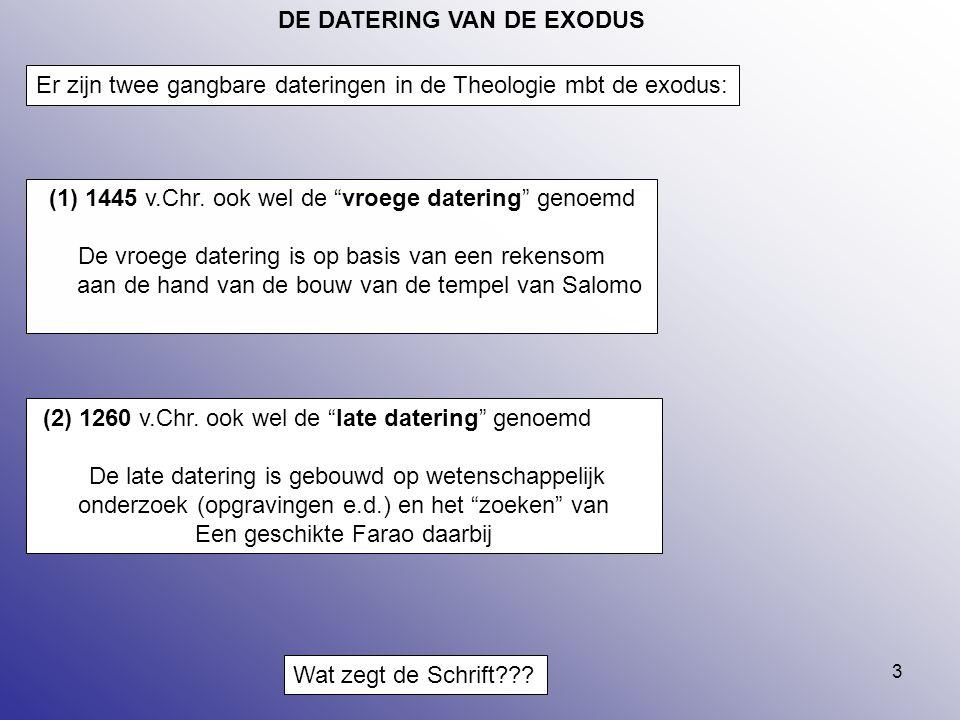 """3 DE DATERING VAN DE EXODUS (2) 1260 v.Chr. ook wel de """"late datering"""" genoemd De late datering is gebouwd op wetenschappelijk onderzoek (opgravingen"""