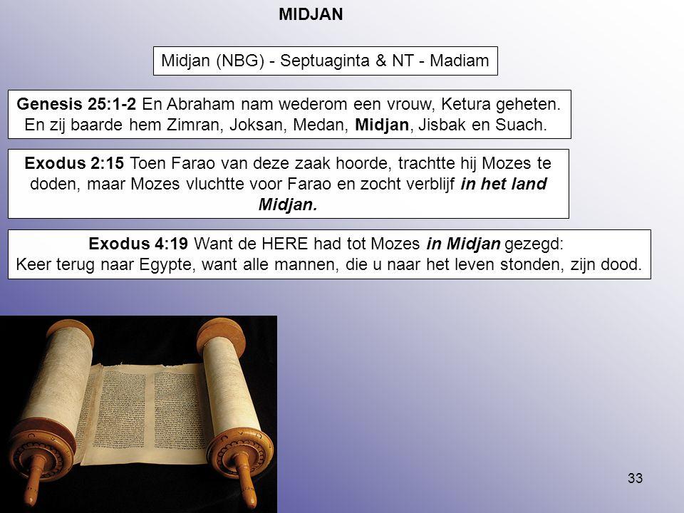33 MIDJAN Midjan (NBG) - Septuaginta & NT - Madiam Genesis 25:1-2 En Abraham nam wederom een vrouw, Ketura geheten. En zij baarde hem Zimran, Joksan,