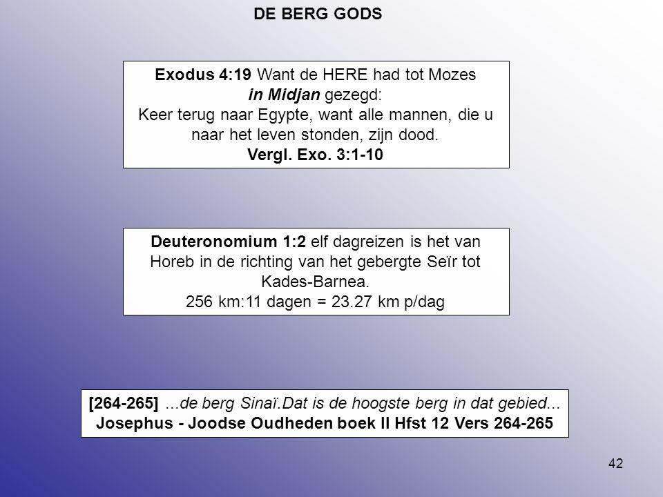 42 DE BERG GODS Exodus 4:19 Want de HERE had tot Mozes in Midjan gezegd: Keer terug naar Egypte, want alle mannen, die u naar het leven stonden, zijn